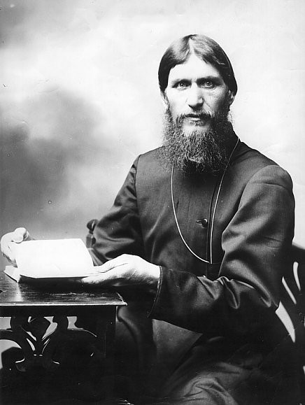 Rasputin intensely gazing at the reader