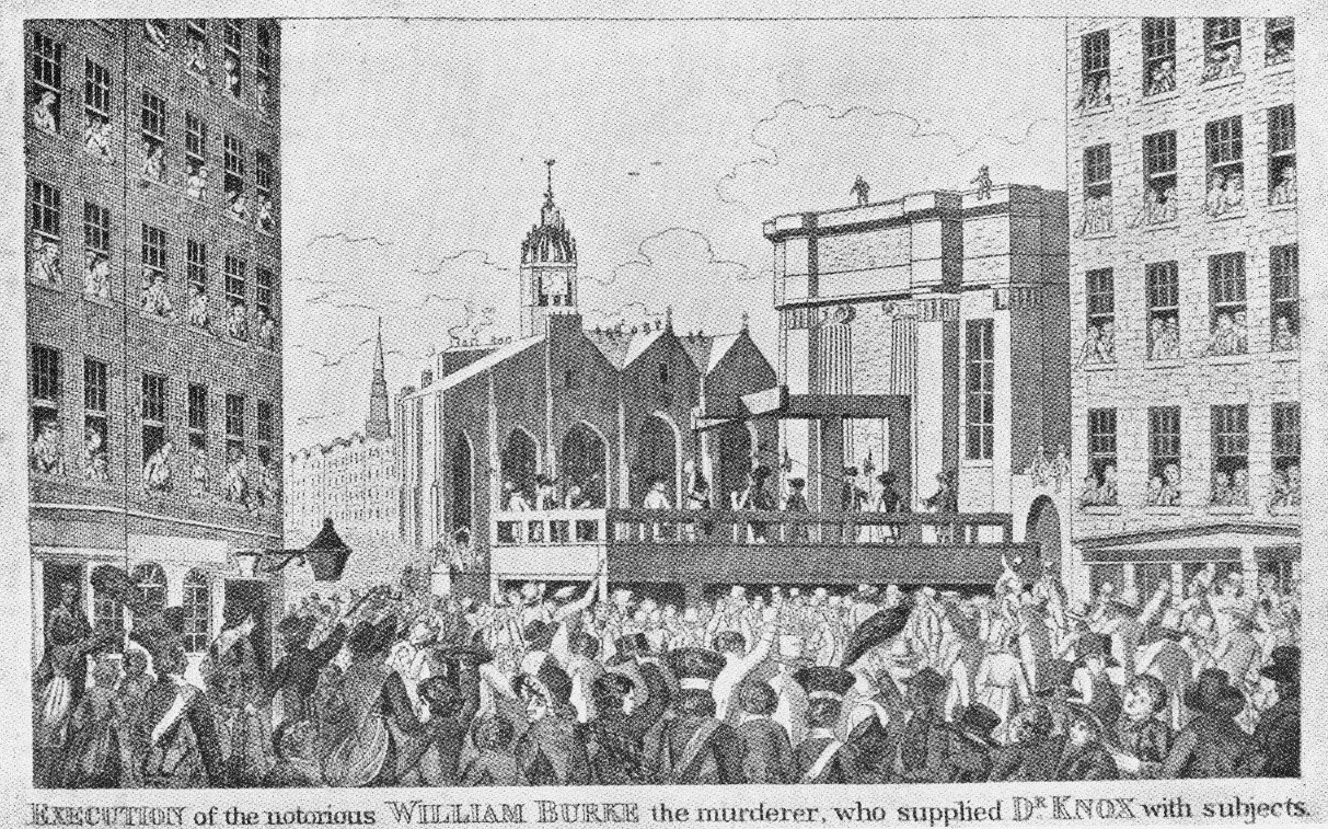 Drawing depicting the execution of William Burke, but not in the Tolbooth