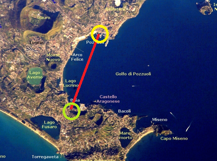 Extension of the alleged bridge in a satellite image