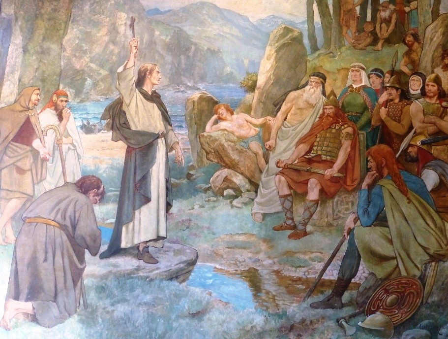 Painting depicting Columba and the Picts