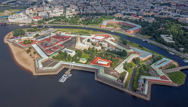 Aerial view of Peter and Paul Fortress