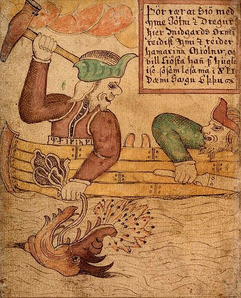Old drawing of Thor fishing Jörmungandr, the world's serpent