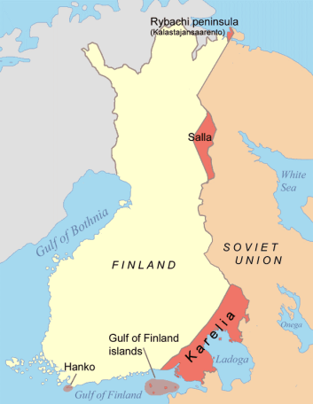 In red, Finland's relinquished territory to the USSR