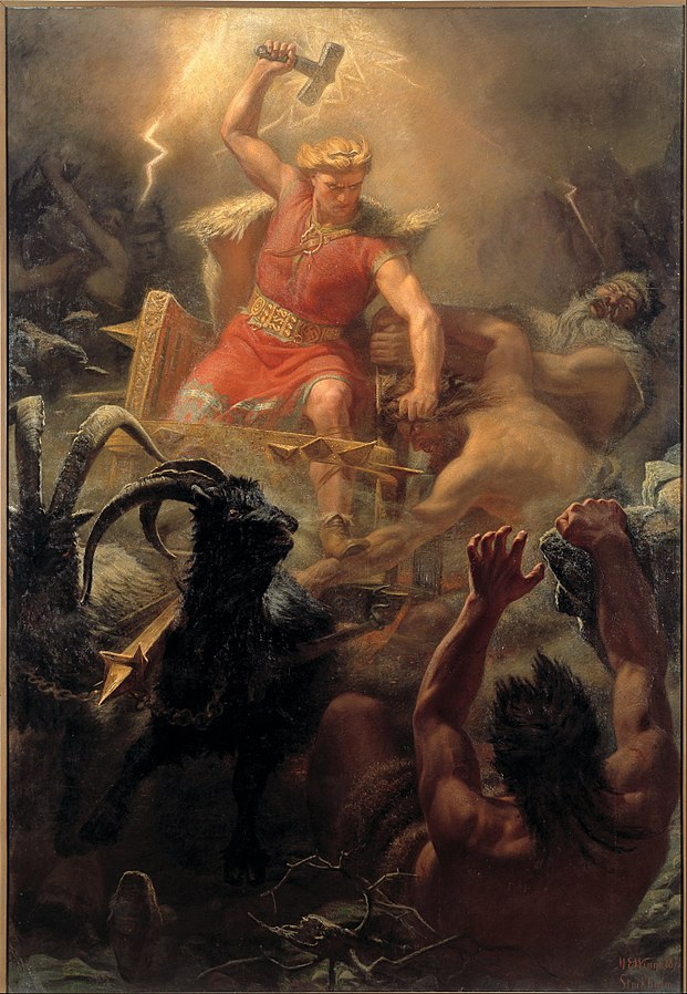 Thor fight the giants. Painting by Mårten Eskil Winge, 1872. Collection: Nationalmuseum, Stockholm, Sweden. Source: Wikipedia
