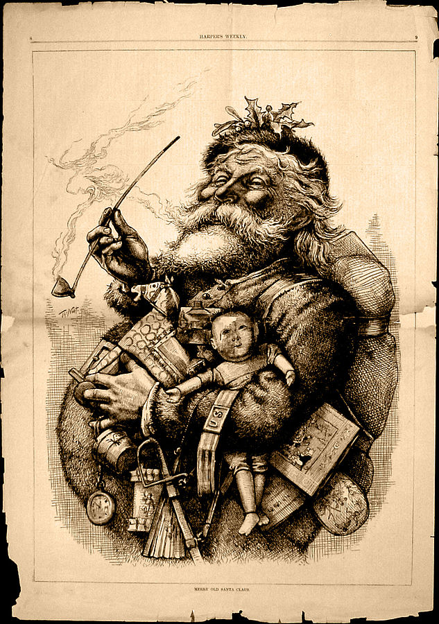 Thomas Nast's caricature. 1881. The first modern depiction of Santa Claus. The red colour would be added later. Source: Wikimedia Commons