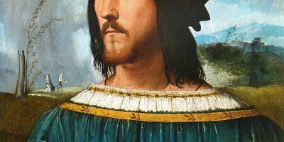 Alleged portrait of Cesare Borgia. Painted by: Altobello Melone. Collection of Accademia Carrara. Source: Wikipedia