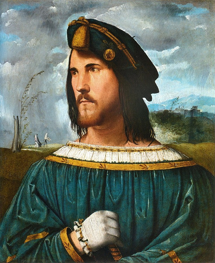 Alleged portrait of Cesare Borgia. Painted by: Altobello Melone. Collection of Accademia Carrara. Source: Wikipedia