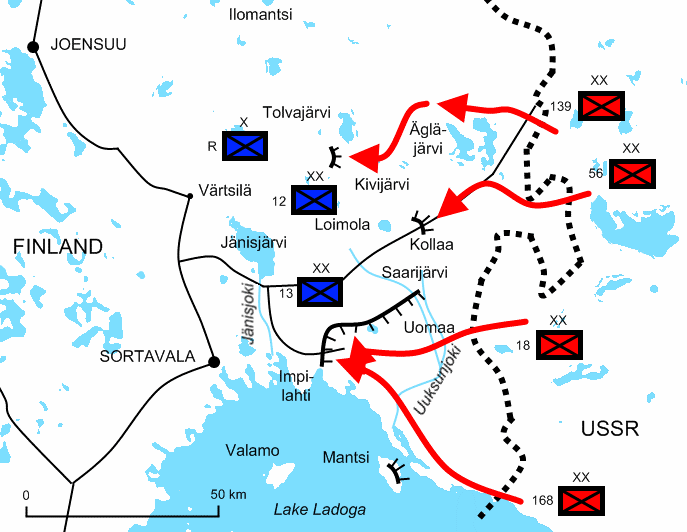 Finnish and Soviet lines in the Winter War Kolla front
