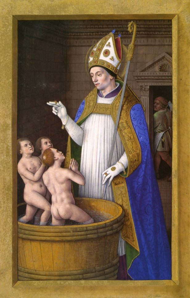 Saint Nicholas depicted as a bishop with the three resurrected children