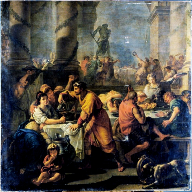 Romans gambling, drinking and feasting