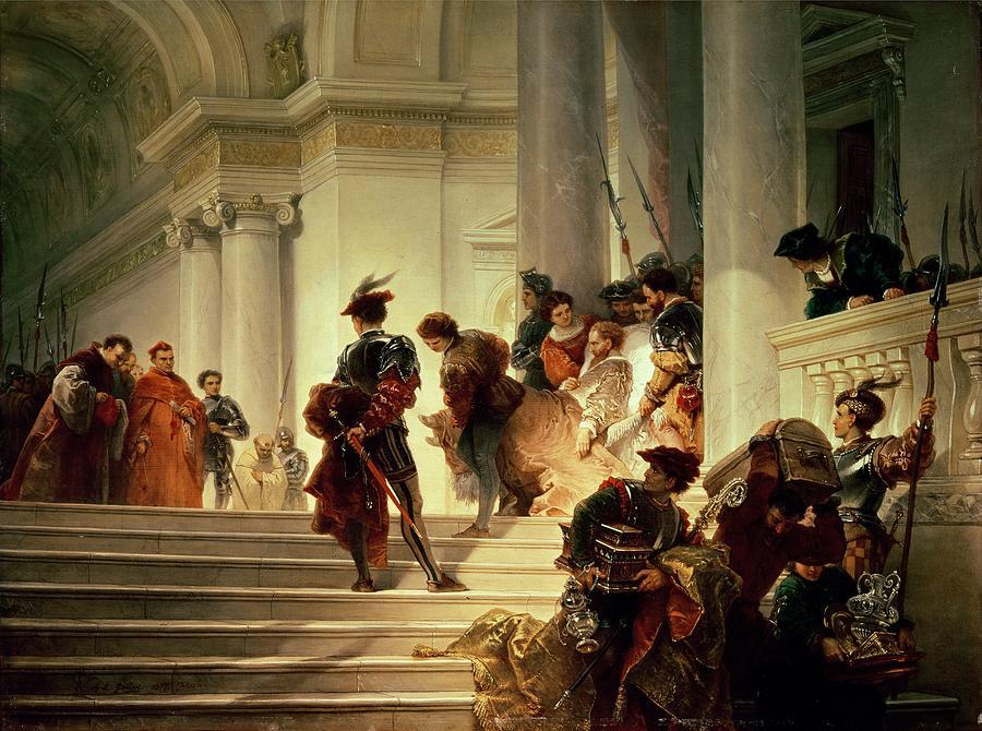 A convalescent Cesare borgia leaving the Vatican