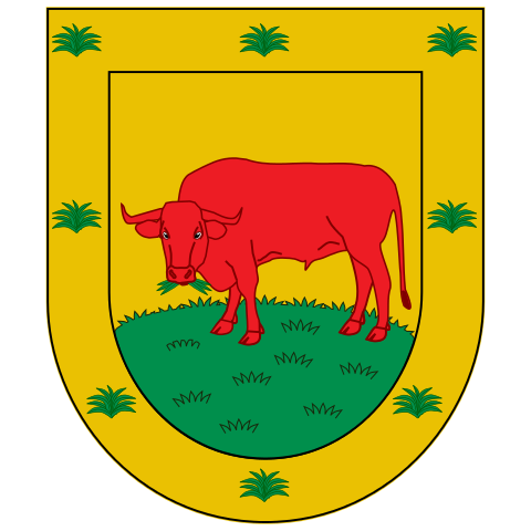 Borgia's Coat of Arms. A red bull grazing