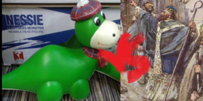 Nessie vs Saint Columba. The picture about Nessie toy was taken by me but I don't claim the ownership of the toy. The painting of Columba was painted by J. R. Skelton, published 1906