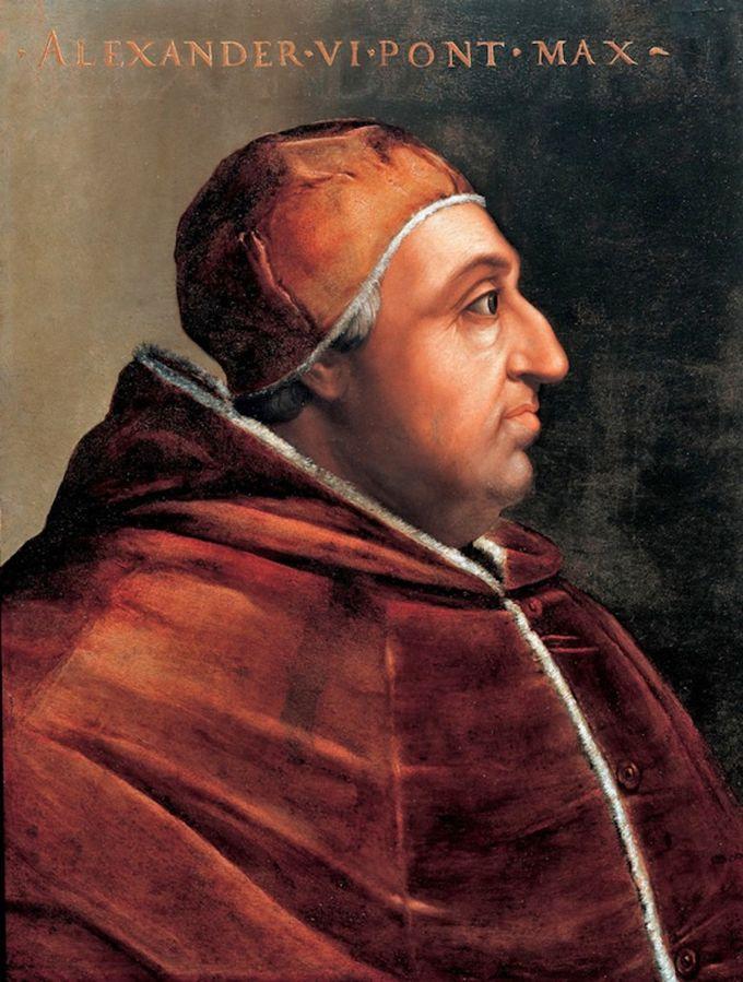 Portrait of Rodrigo Borgia as Pope Alexander VI. Painting by Cristofano dell'Altissimo. Collection: Vasari Corridor. Source: Wikipedia