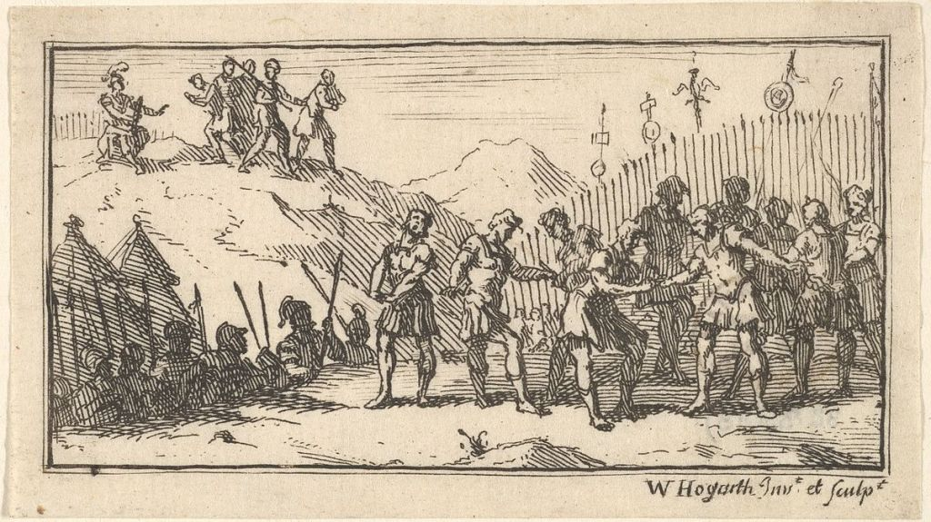 Depiction of legionaries decimating their comrades