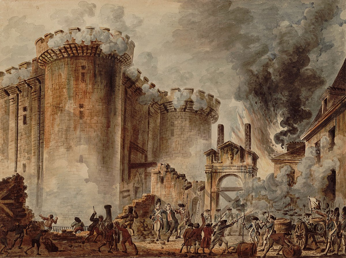 The Storming of the Bastille by Jean-Pierre Houël. This episode quickly became the most famous and emblematic of the French Revolution. The painting now belongs to Bibliothèque nationale de France
