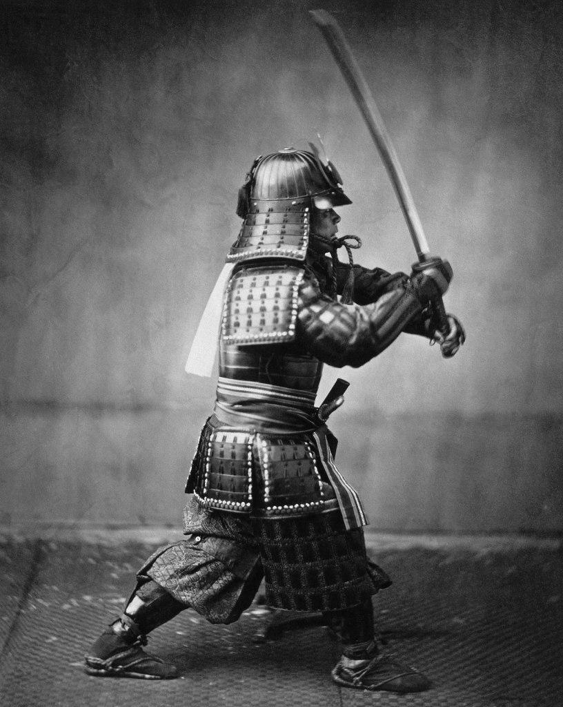 Samurai picture. Picture taken by Felice Beato. Circa 1860-70