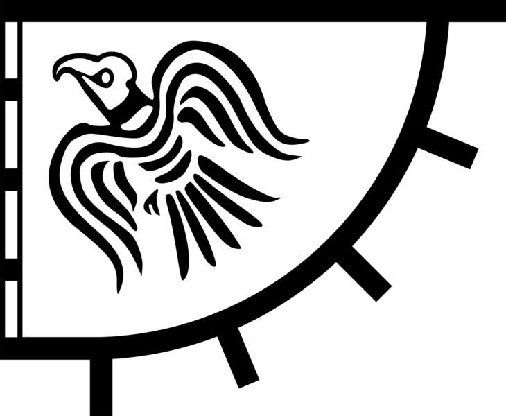 A triangular shaped banner depicting a raven flying upwards