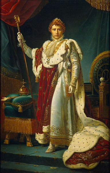 Napoleon wielding the sceptre and wearing a long red and white cloak. On his head rests golden laurels