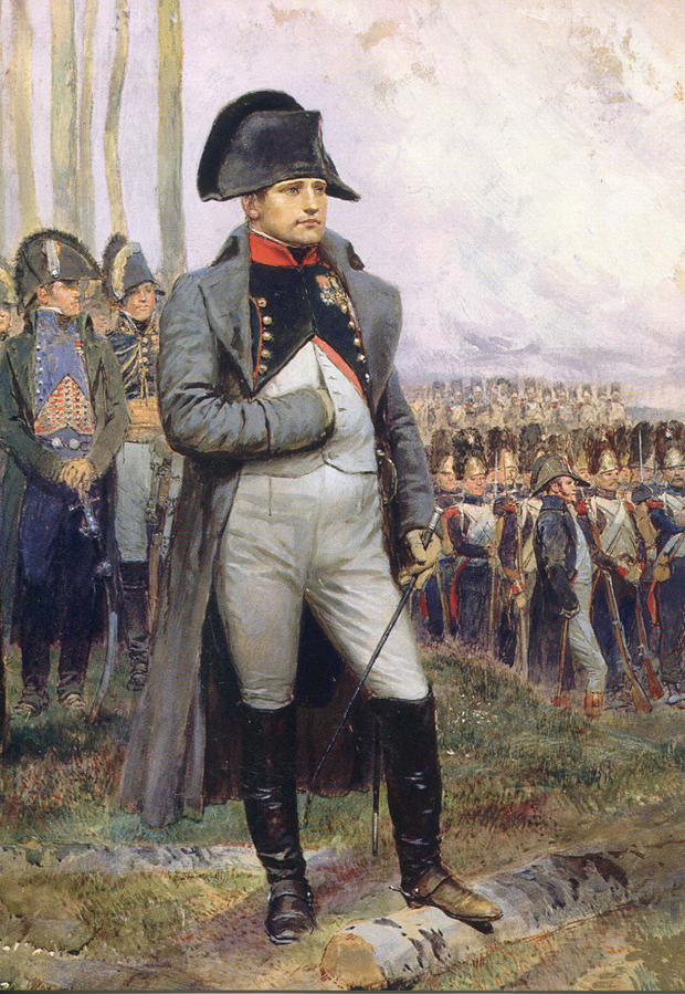 Napoleon with his iconic hat and posture