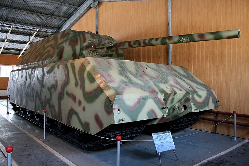 The Maus painted in camouflage patterns
