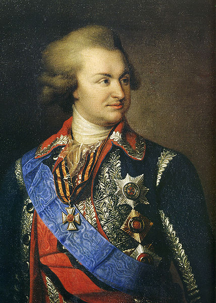 Prince Grigory Potemkin, with his medals and numerous condecorations, looking confident