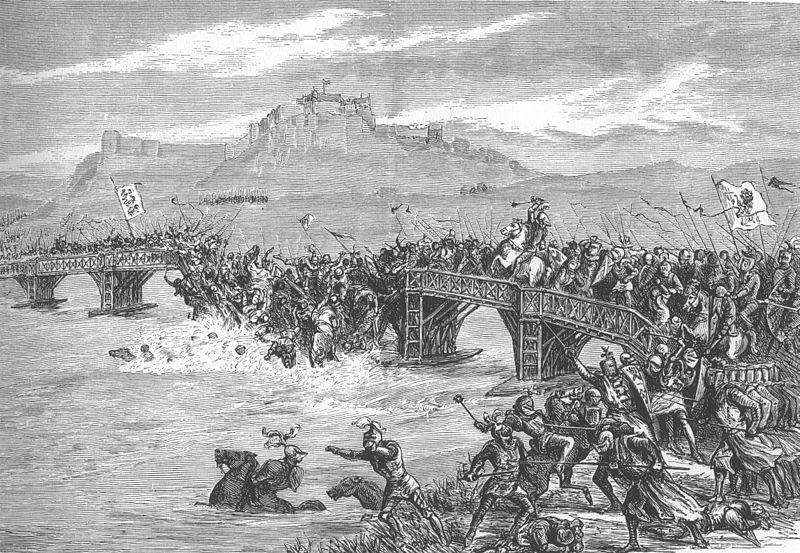 Fictional illustration of the Battle of Stirling Bridge. Stirling Castle lie son the background