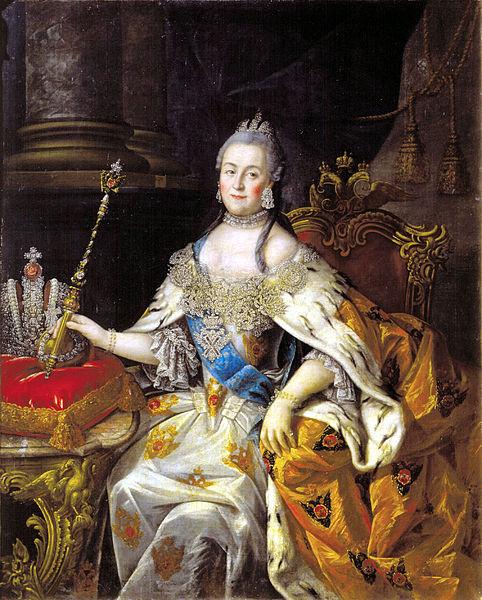 Catherine dressing the Russian royal regalia