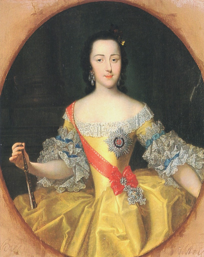 Painting of a young Catherine dressing ayellow dress and a red band