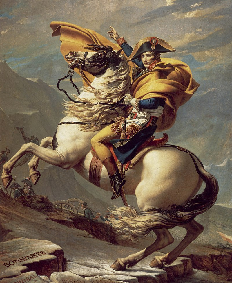 Napoleon, wearing a golden cloak and riding a rampant horse, points the way for his men