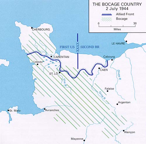 The whole of North and West Normandy was covered in the Bocage