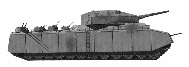 A tank looking ship. It bears a naval gun, and on its side, a ladder to access the top, give us an idea of the insane size of the Ratte.
