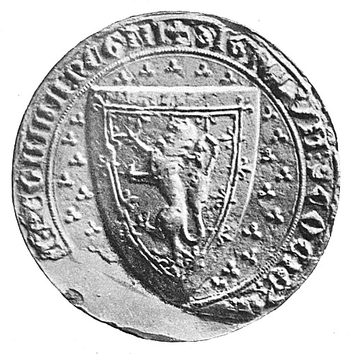 Seal of the Guardians of Scotland. The rampart lion is the symbol of the King of Scots