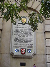 Plaque in London marking the spot where Wallace was tortured and beheaded