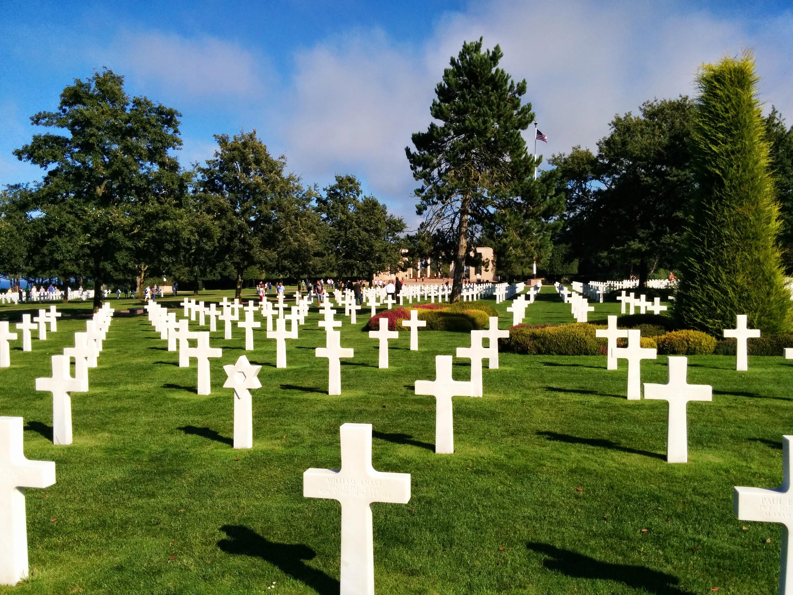 U.S. Military cemetery. Undernath, on the left, lies Omaha beach. Built past the bluffs of Omaha beach