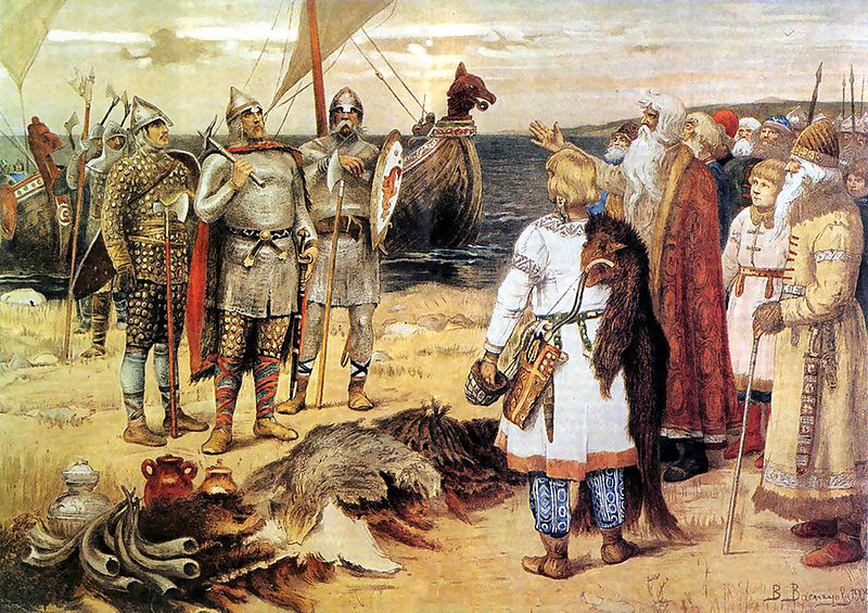 The armour-clad warriors recieve tribute (furs, horns and food) from a group of elders and children.