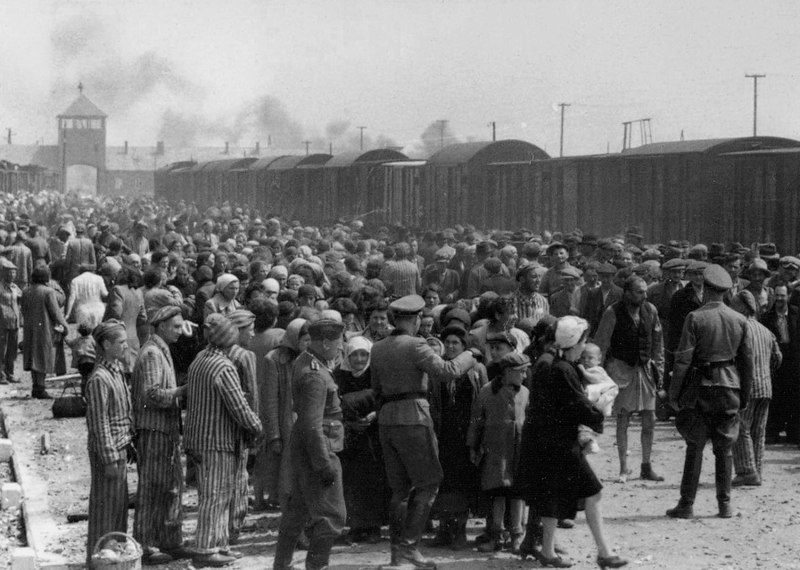 A huge crowd of newcomers await, while Nazi officers walk around