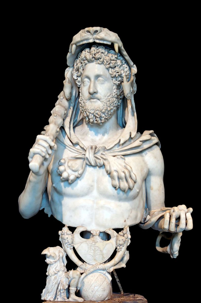 Commodus depicted as Hercules, with the club and lion skin