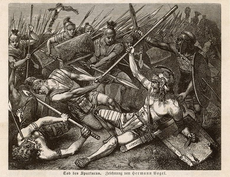 A fallen Spartacus trusts his spear on the belly of Roman, while around him rebels and soldiers battle
