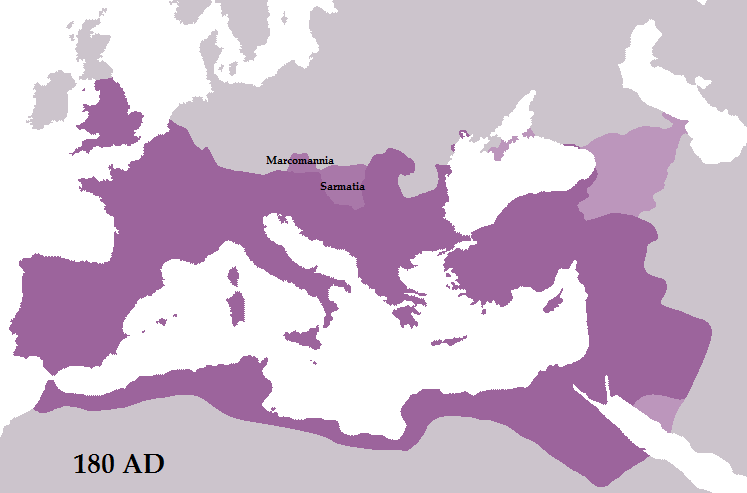 Extent of the Roman empire during Marcus Aurelius' times. In light purple Marcomannia and Sarmatia, the Roman provinces that never were