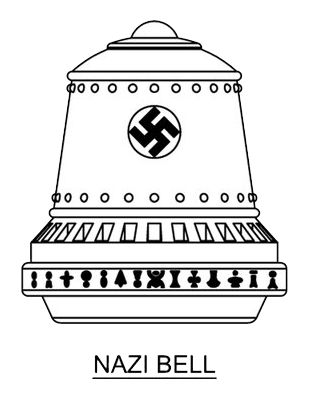 A big bell with the Swastika on front, and unknown symbols on the lower rim