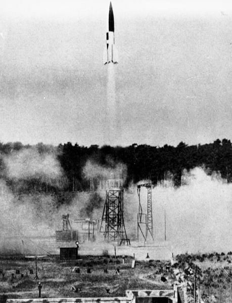 The rocket is depicted four seconds after the take off. Below the launching platform and the smoke whirling around