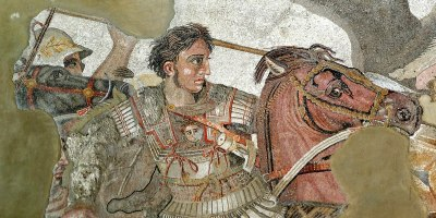 Alexander the Great riding his famous horse, Bucephalas, in the Battle of Issus against the Persian King Darius III. Part of a mosaic found in Pompeii. Photographer: Berthold Werner. Source: Wikipedia