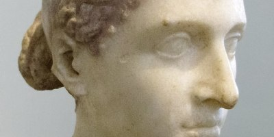 A roman bust of Cleopatra circa 43-40 BC, around or shortly after her visit to Rome. Thus perhaps the most approximate representation of her facial features.